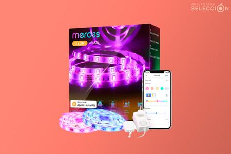 Este pack de dos tiras LED RGB de cinco metros de meross compatible con HomeKit está a 39,99 euros en Amazon con cupón