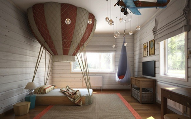 01 This Dreamy Bedroom Was Designed For A Small Boy And Its Theme Is Air
