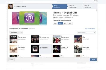 Facebook añade las tarjetas regalo de iTunes como opción de regalo