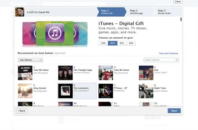 Facebook iTunes Gifts