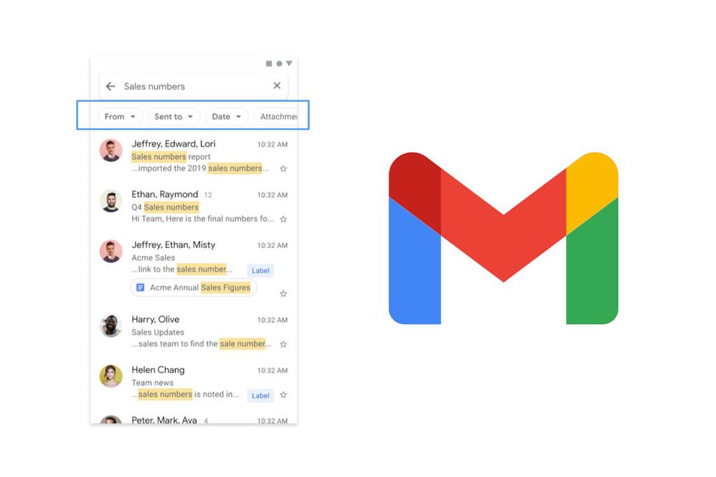 Gmail para Android mejora su búsqueda con filtros
