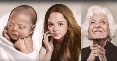 De bebé a anciana en 4 minutos gracias a las increíbles manos de un dibujante