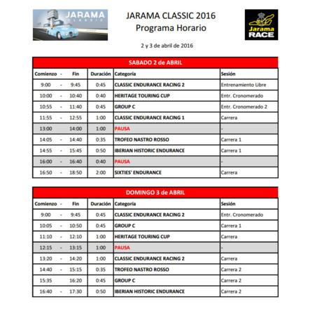 Jarama Classic 2016 Horario