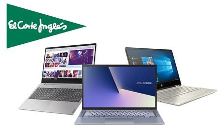 Ofertas en portátiles en El Corte Inglés: hasta 400 euros de rebaja y descuentos del 30% en modelos de HP, LG, ASUS, MSI o Huawei