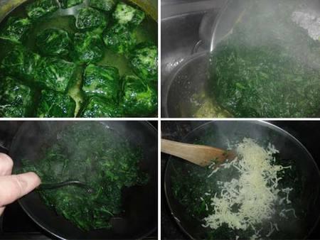 Preparación de las espinacas y huevos al horno