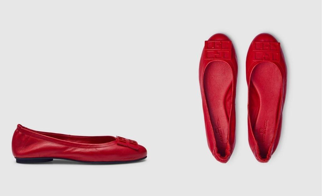 Bailarinas de mujer Gloria Ortiz de piel en color rojo