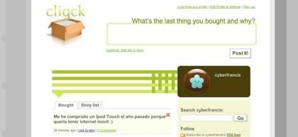 Cliqck, el microblogging donde compartiremos lo que hemos comprado