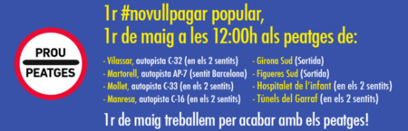 El 1 de mayo se convoca una protesta para no pagar los peajes en Cataluña