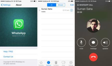 Varias imágenes filtradas muestras las llamadas de WhatsApp funcionando en los iPhone