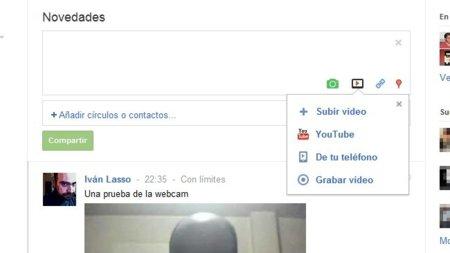 Google+ permite grabar vídeo desde nuestra webcam y compartirlo con nuestros círculos