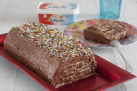 Tarta de galletas y chocolate con margarina Tulipán