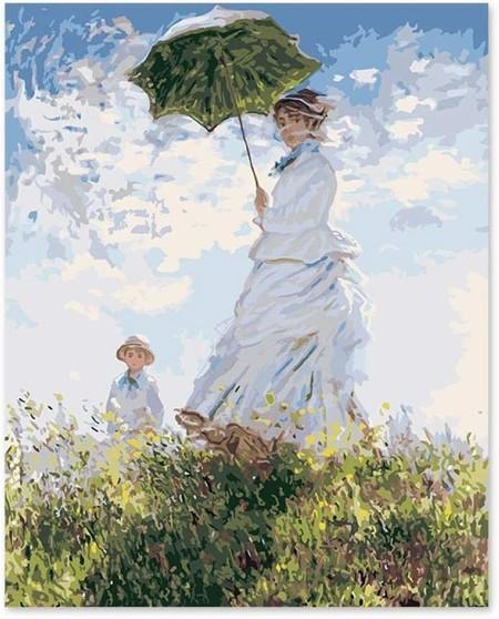 Khgahd Pintura Por Numeros Arte Pintura Por Numero Diy Impresion Pintura Monet Esposa Paraguas Mujer Without Frame 40x50cm