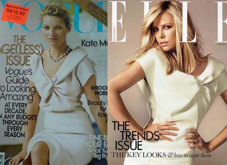 Kate Moss y Charlize Theron: portada con el mismo vestido