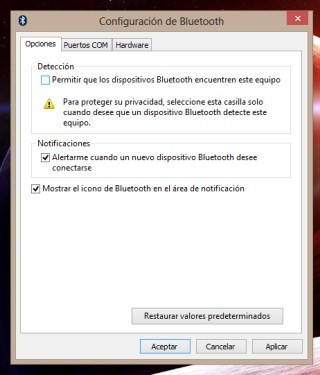 Configurar Bluetooth en Windows 8 y RT
