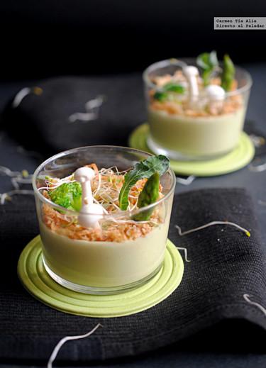 Crema de espárragos verdes y queso Parmesano. Receta