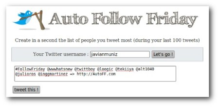 Auto Follow Friday: Recomendar usuarios nunca fue tan sencillo