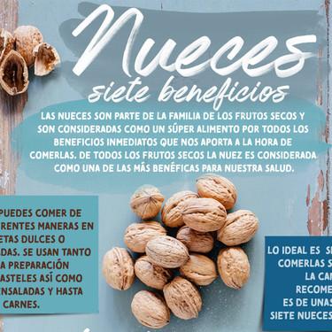 Los 7 beneficios de comer nueces. Infografia