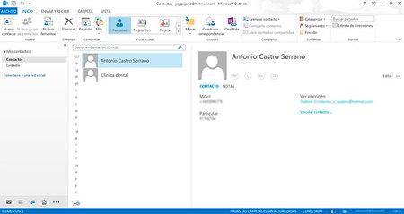Outlook 2013, gestión de personas