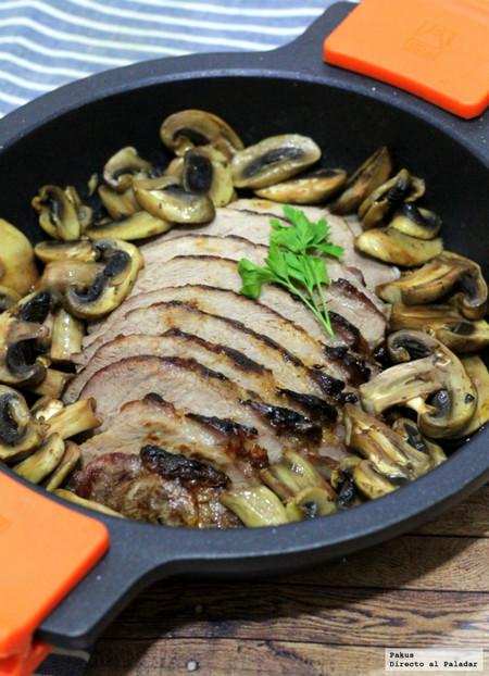 Receta de presa ibérica en salsa de ostras con champiñones