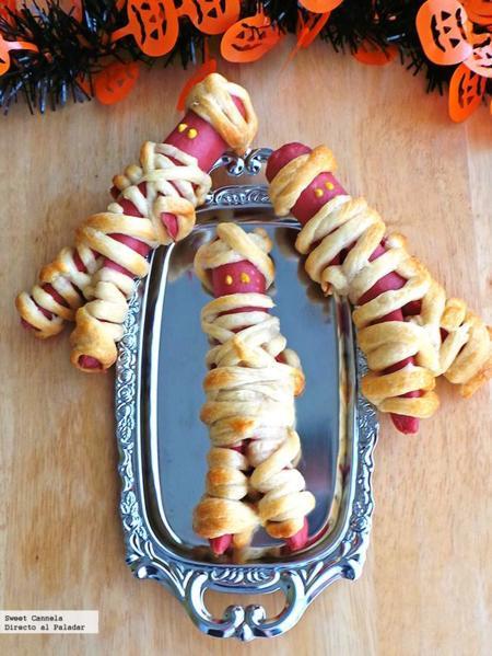 Momias de Hot Dog. Receta de Halloween