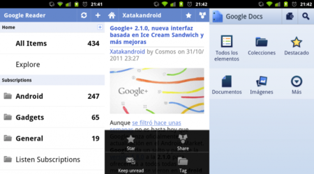 Google Reader y Google Docs se actualizan con la interfaz de Ice Cream Sandwich