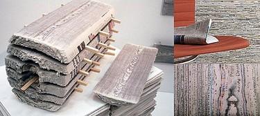 Revestimientos y losetas con papel de periódico reciclado