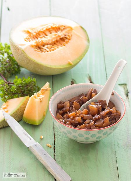Receta de chutney de melón cantaloupe y Oporto. Deliciosa guarnición para platos de carne