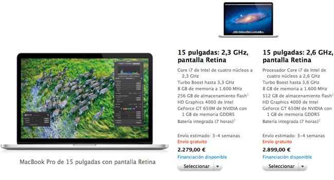 MacBook PRo de 15 pulgadas con pantalla Retina