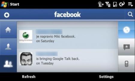 Facebook en Sony Ericsson XPERIA X1