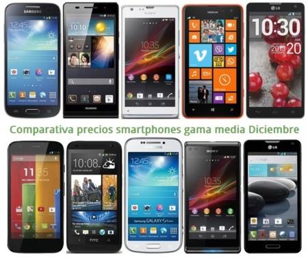 Comparativa precios smartphones gama media con los operadores en Navidad