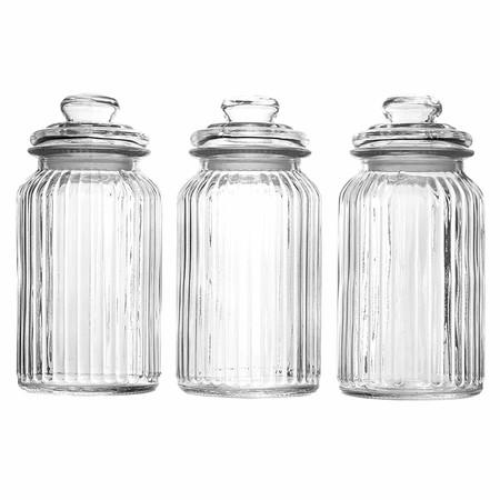 Maison & White Juego de 3 tarros de cristal herméticos vintage | Recipientes tradicional | Ideal para té, café, dulces y más (1300ml)