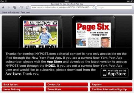 El New York Post bloquea el acceso web desde Safari en el iPad para impulsar la venta de sus suscripciones
