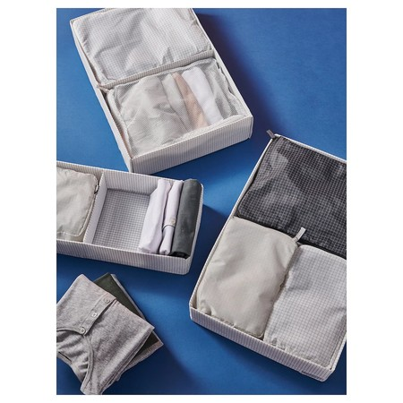 Rensare Clothes Bag Set Of 3 Check Pattern Grey Black 0852370 Ph168650 S5