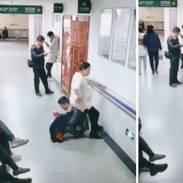 Está embarazada, nadie le cede un asiento y su marido se convierte en silla humana para que descanse