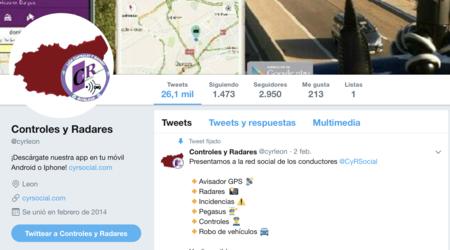 Una de las cuentas de Twitter dedicadas al aviso de radares y controles, Cyrleon.
