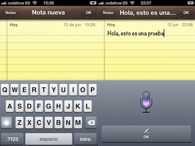 iOS 5 vs. iOS 6, dictado por voz