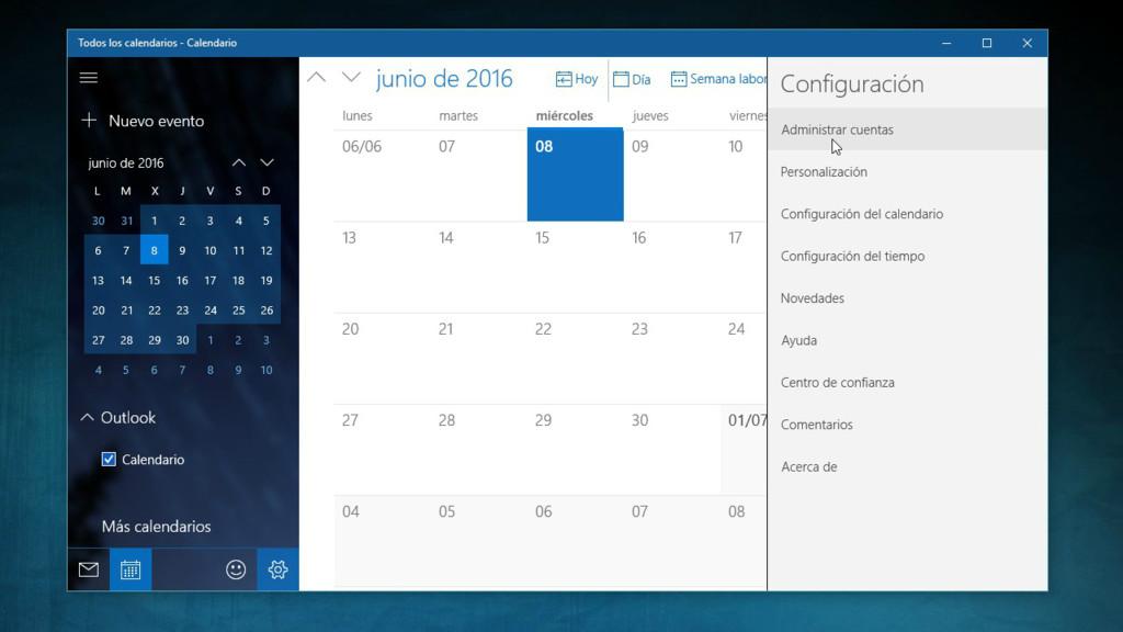 Calendario Windows 10