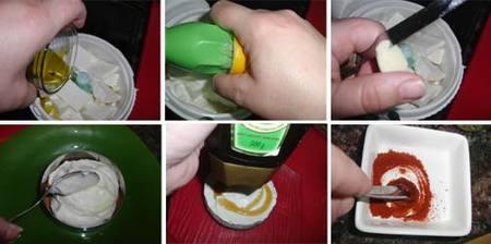 Preparación de la crema salada de queso con miel