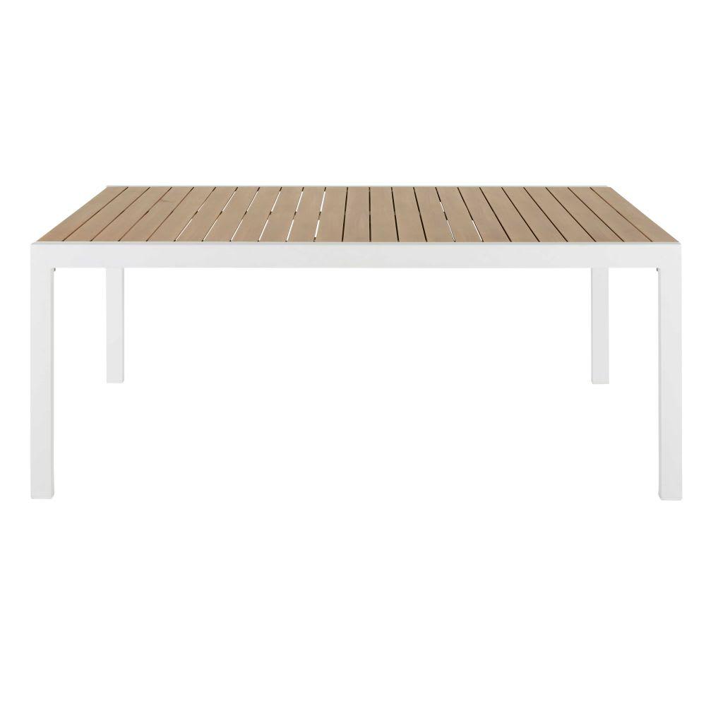 Mesa de jardín extensible de aluminio e imitación a teca para 8 a 12 personas L.180/270