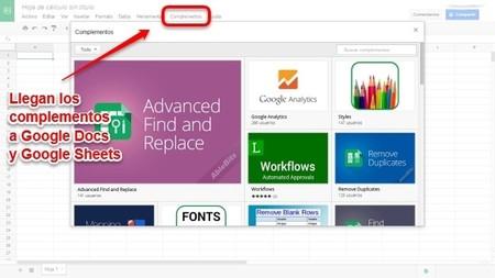 Google Docs y Sheets incorporan complementos para mejorar su funcionalidad
