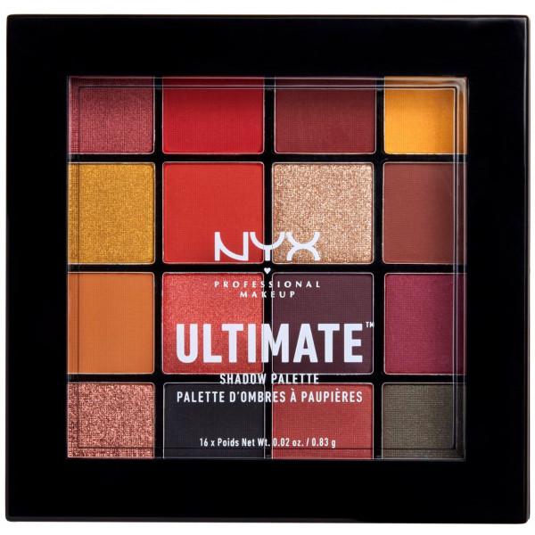 NYX Professional Makeup Paleta de sombra de ojos Ultimate Shadow Palette, Pigmentos compactos, 16 sombras, Acabados mate, satinados y metalizados. Tono Phoenix