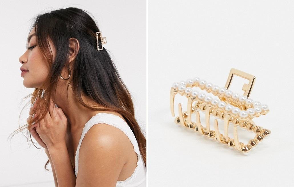 Pinza dorada con detalles de perlas