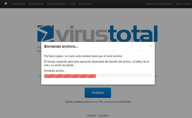 VirusTotal, carga de archivos