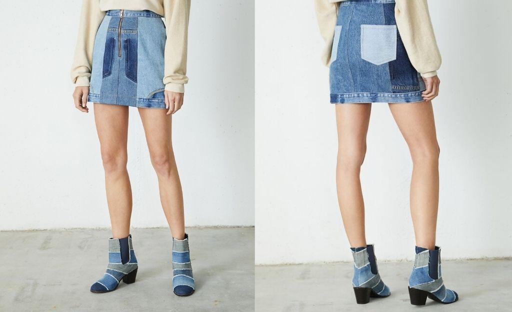 Mini falda denim upcycling