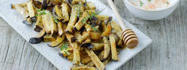 Chips de berenjena con miel y tomillo: receta vegetariana de picoteo