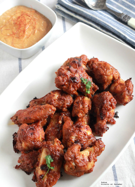 Alitas de pollo horneadas con salsa satay. Receta