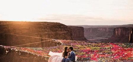 El matrimonio puede dar vértigo. Sobre todo si te casas en una red a 120 metros de altura