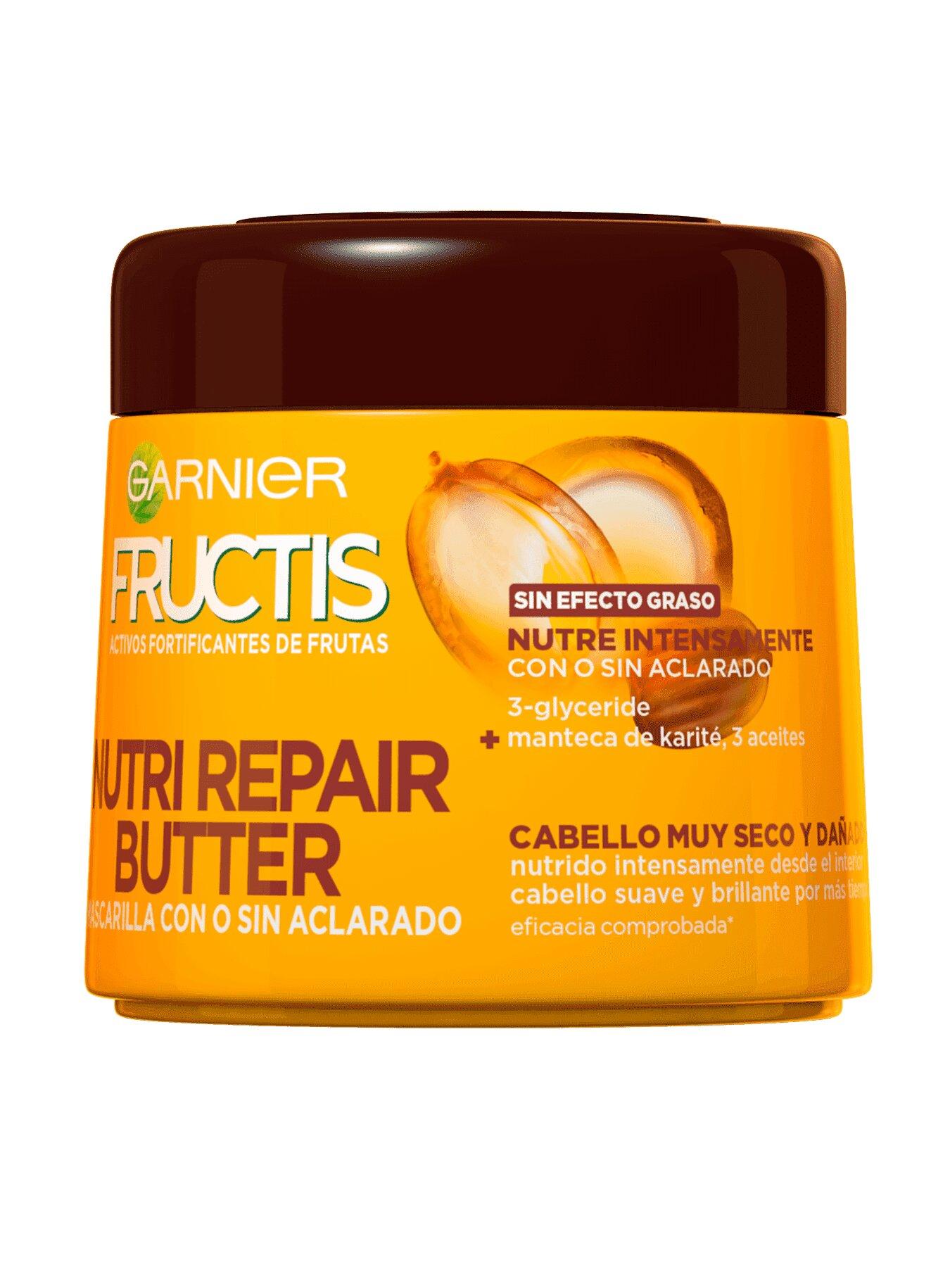 Garnier Fructis Nutri Repair Butter Mascarilla Fortificante que Nutre y Suaviza, con 3-Glyceride, Manteca de Karité y 3 Aceites