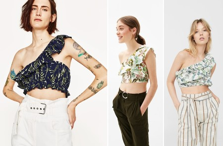 Crop Top Asimetrico Volante Tropical
