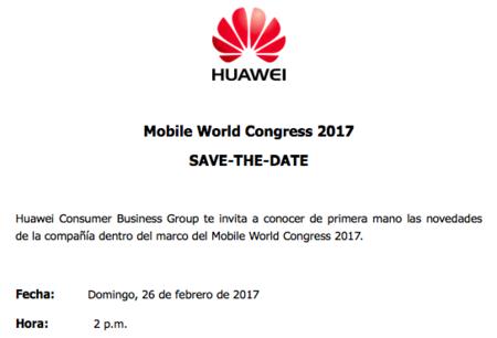 Invitación de Huawei para el MWC de Barcelona 2017